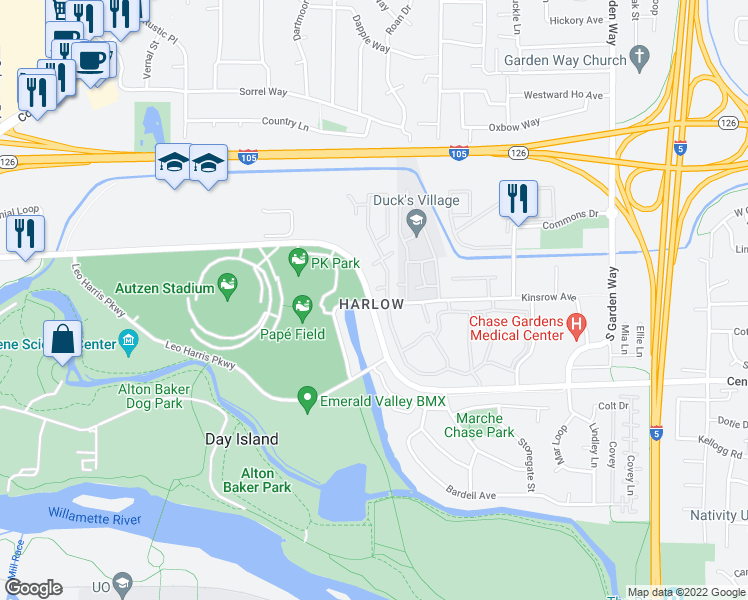 map of restaurants, bars, coffee shops, grocery stores, and more near 3136-3188 Kinsrow Avenue in Eugene