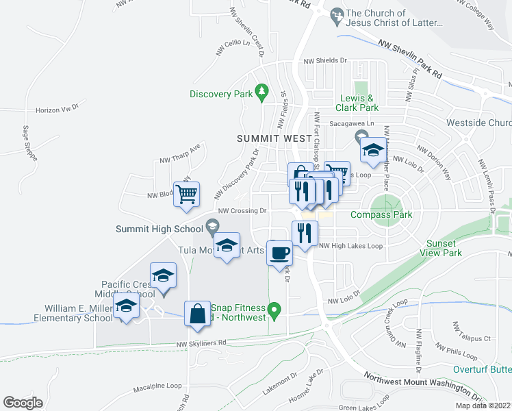 map of restaurants, bars, coffee shops, grocery stores, and more near 3001 Northwest Clearwater Drive in Bend