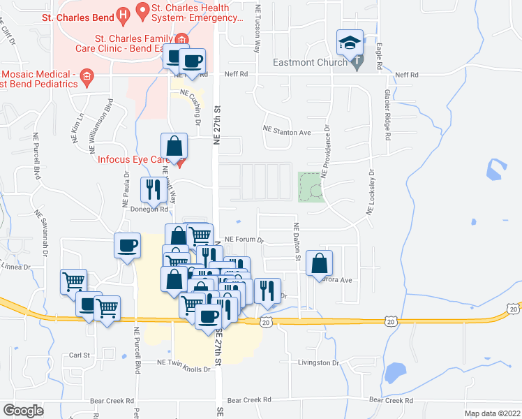 map of restaurants, bars, coffee shops, grocery stores, and more near 2870 Northeast Jackdaw Drive in Bend