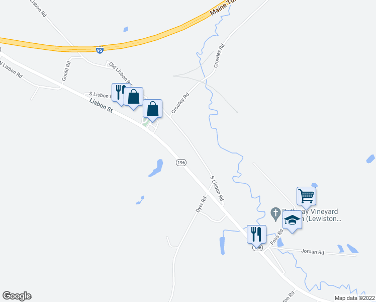 map of restaurants, bars, coffee shops, grocery stores, and more near 57 South Lisbon Road in Lewiston