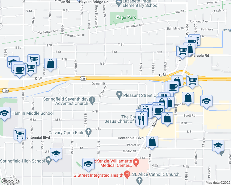 map of restaurants, bars, coffee shops, grocery stores, and more near 1354 Piedmont Street in Springfield