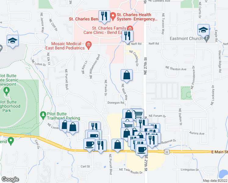 map of restaurants, bars, coffee shops, grocery stores, and more near 2358 Northeast Mary Rose Place in Bend