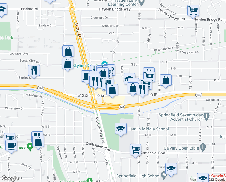 map of restaurants, bars, coffee shops, grocery stores, and more near 270 Q Street in Springfield