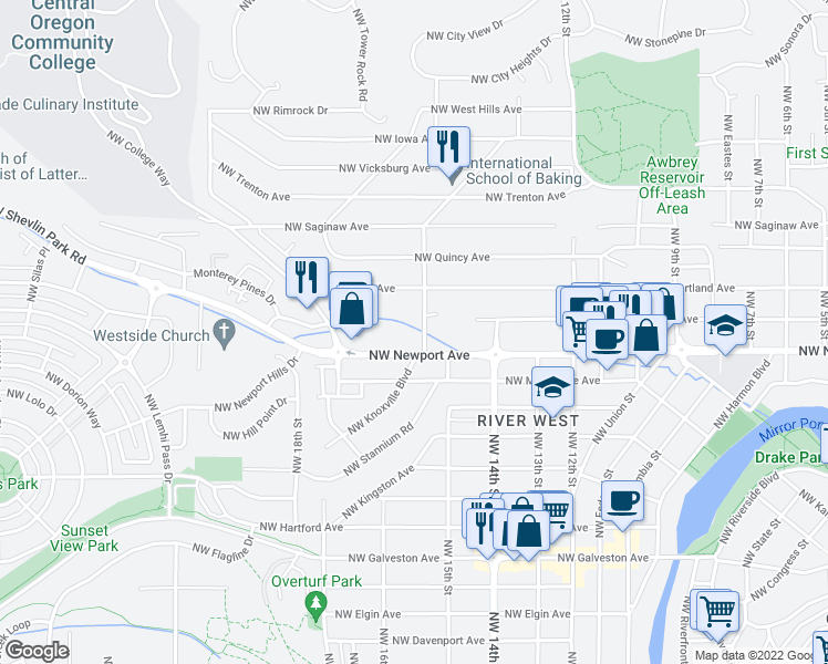 map of restaurants, bars, coffee shops, grocery stores, and more near 1443 Northwest Juniper Street in Bend
