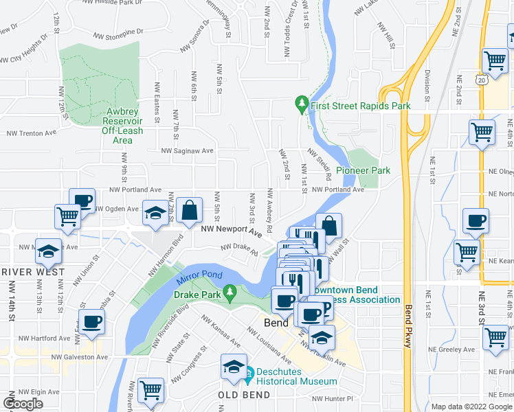 map of restaurants, bars, coffee shops, grocery stores, and more near 1504 Northwest 3rd Street in Bend