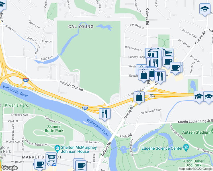 map of restaurants, bars, coffee shops, grocery stores, and more near in Eugene