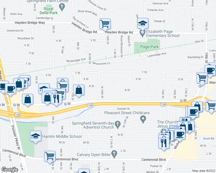 map of restaurants, bars, coffee shops, grocery stores, and more near 1086 R Street in Springfield