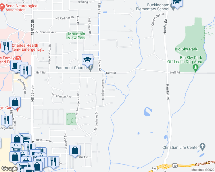 map of restaurants, bars, coffee shops, grocery stores, and more near 3325 Northeast Mendenhall Drive in Bend