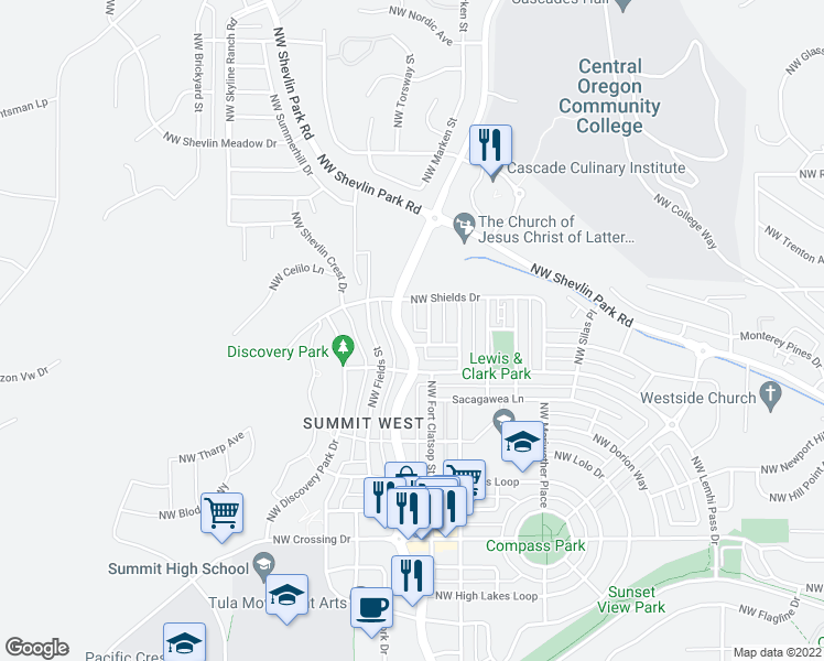 map of restaurants, bars, coffee shops, grocery stores, and more near 1532 Northwest Mount Washington Drive in Bend