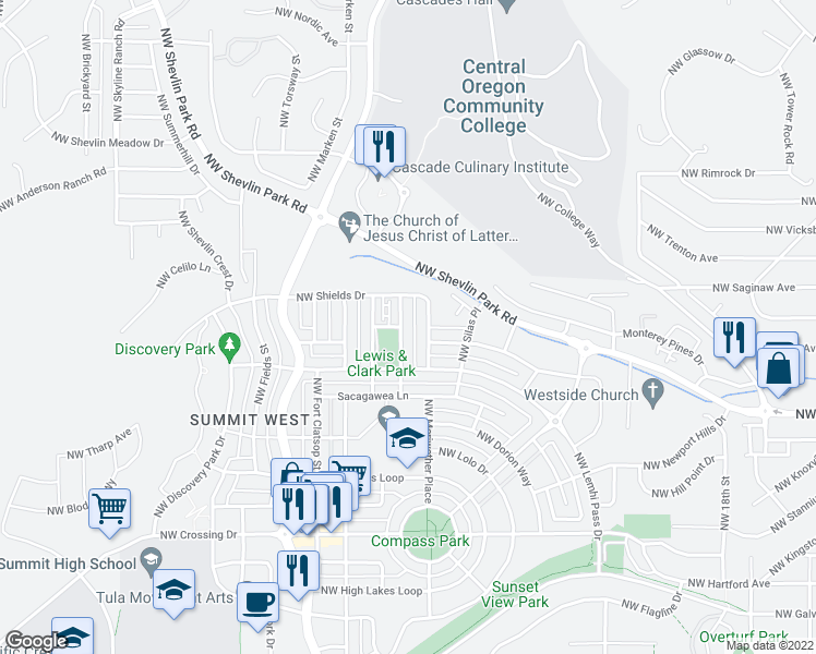 map of restaurants, bars, coffee shops, grocery stores, and more near 1564 Northwest William Clark Street in Bend