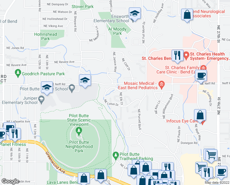 map of restaurants, bars, coffee shops, grocery stores, and more near 1686 Northeast Lotus Drive in Bend