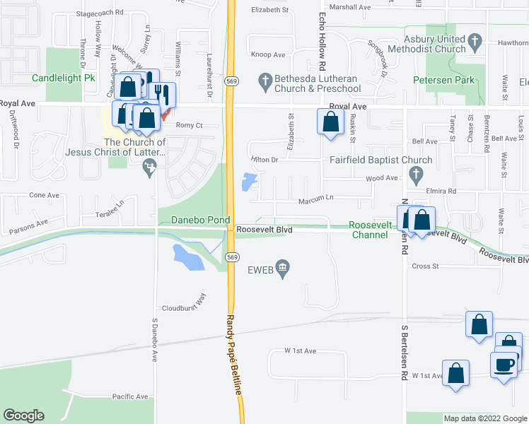 map of restaurants, bars, coffee shops, grocery stores, and more near 4201-4299 Elizabeth Street in Eugene