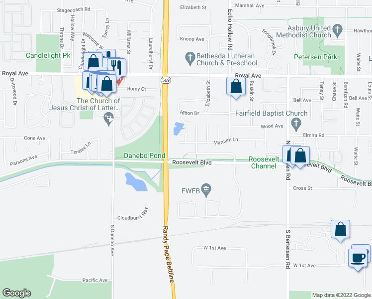 map of restaurants, bars, coffee shops, grocery stores, and more near 4496 Marcum Lane in Eugene