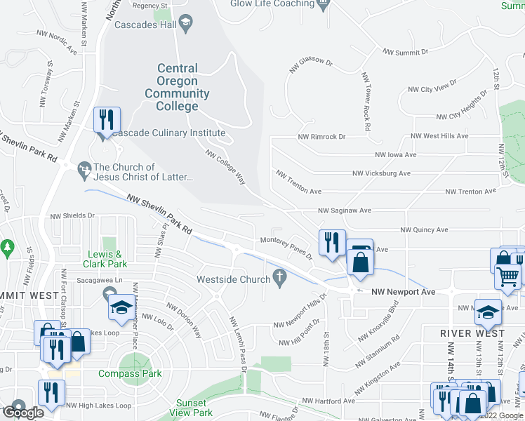 map of restaurants, bars, coffee shops, grocery stores, and more near 2076 Northwest Black Pines Drive in Bend