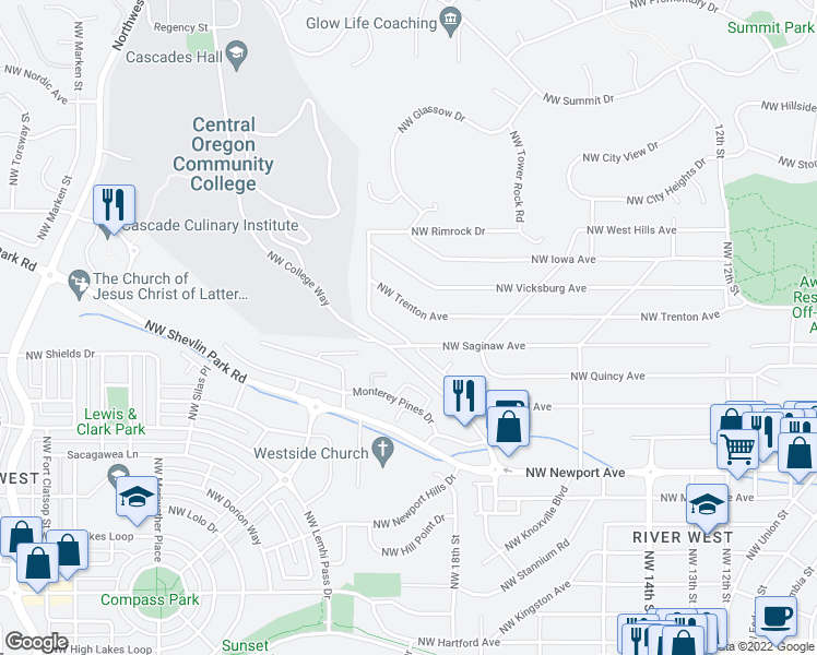 map of restaurants, bars, coffee shops, grocery stores, and more near 2030 Northwest Cascade View Drive in Bend