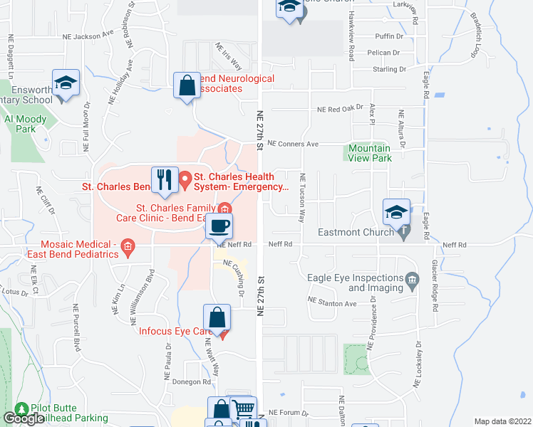 map of restaurants, bars, coffee shops, grocery stores, and more near 1771 Northeast Wichita Way in Bend