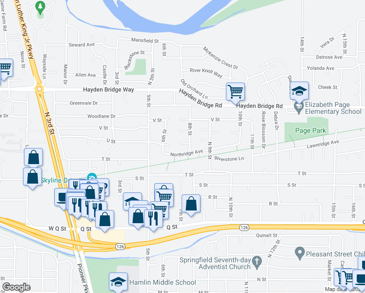 map of restaurants, bars, coffee shops, grocery stores, and more near 748 Northridge Avenue in Springfield