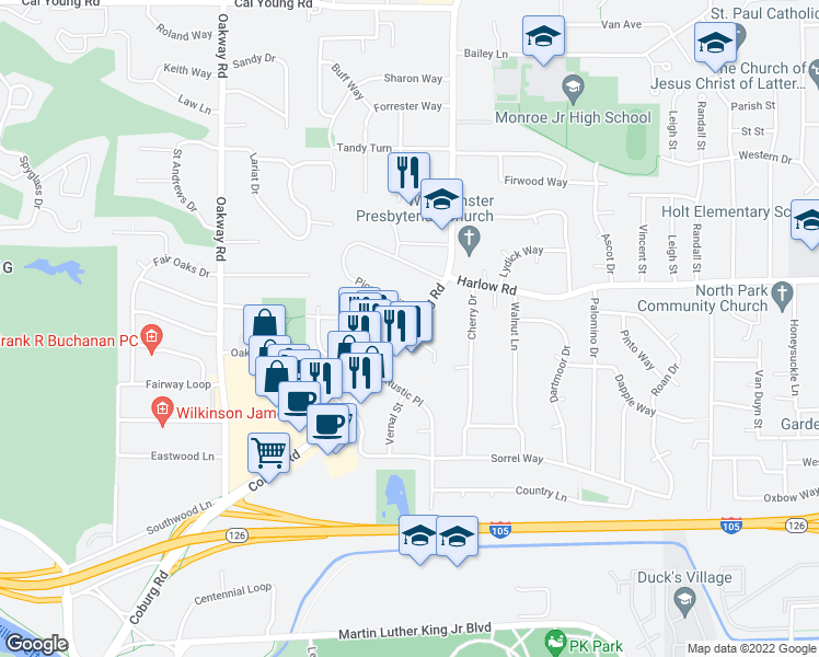 map of restaurants, bars, coffee shops, grocery stores, and more near 599 Coburg Road in Eugene