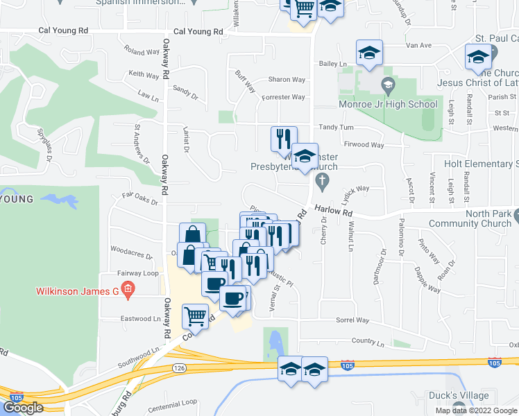 map of restaurants, bars, coffee shops, grocery stores, and more near 2515 Pioneer Pike in Eugene