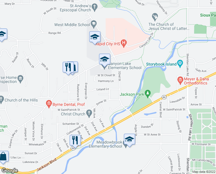 map of restaurants, bars, coffee shops, grocery stores, and more near 3234 Leland Lane in Rapid City