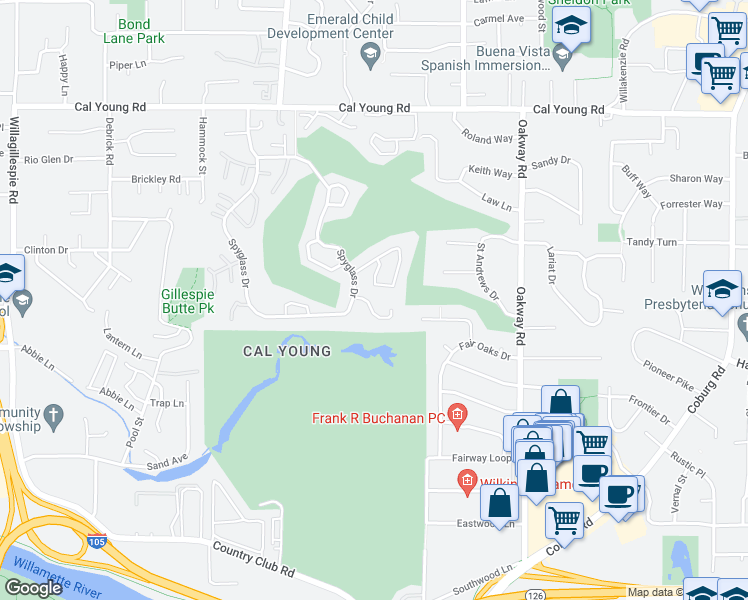 map of restaurants, bars, coffee shops, grocery stores, and more near 777 Spyglass Drive in Eugene