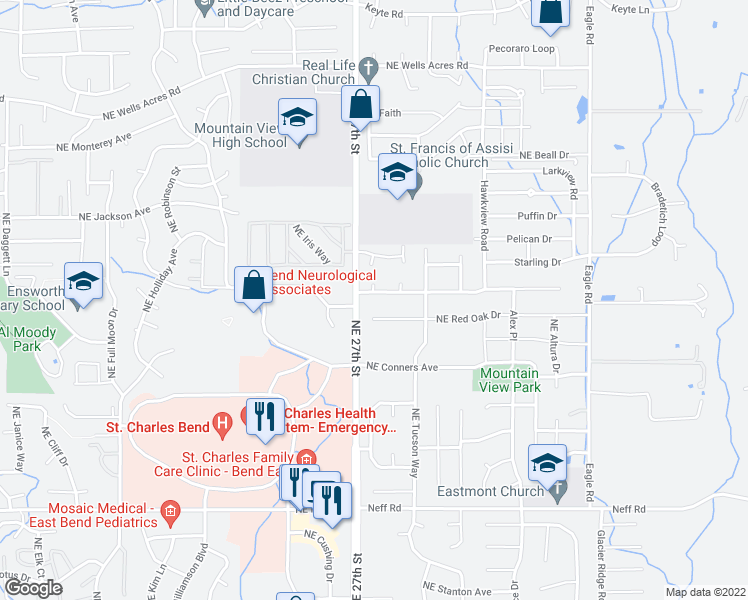 map of restaurants, bars, coffee shops, grocery stores, and more near 2753 Yellow Ribbon Drive in Bend