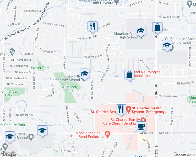 map of restaurants, bars, coffee shops, grocery stores, and more near 2013 Northeast Neil Way in Bend