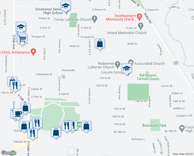 map of restaurants, bars, coffee shops, grocery stores, and more near 11th Street Southeast in Owatonna