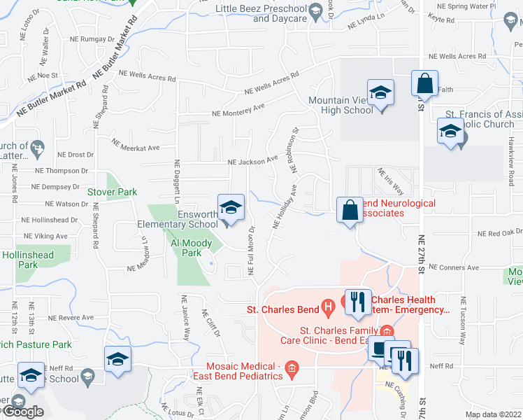 map of restaurants, bars, coffee shops, grocery stores, and more near 2026 Northeast Neil Way in Bend