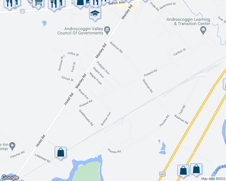 map of restaurants, bars, coffee shops, grocery stores, and more near Poland Road in Auburn