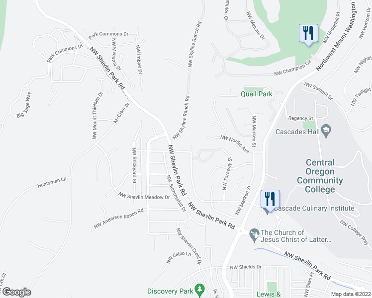 map of restaurants, bars, coffee shops, grocery stores, and more near 2930 Northwest Chardonnay Lane in Bend