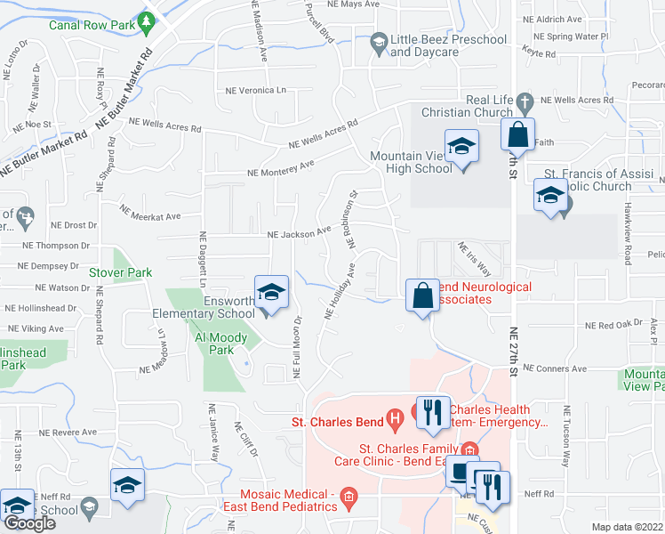 map of restaurants, bars, coffee shops, grocery stores, and more near 2358 Northeast Ocker Drive in Bend