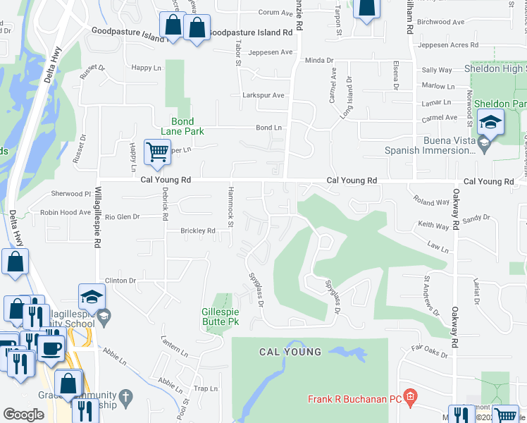 map of restaurants, bars, coffee shops, grocery stores, and more near 207 Spyglass Drive in Eugene