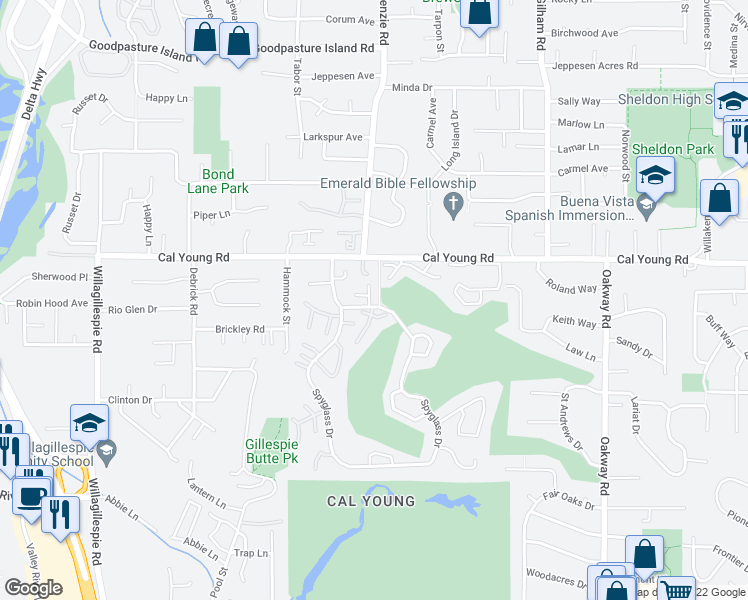 map of restaurants, bars, coffee shops, grocery stores, and more near 1255 Spyglass Dr in Eugene