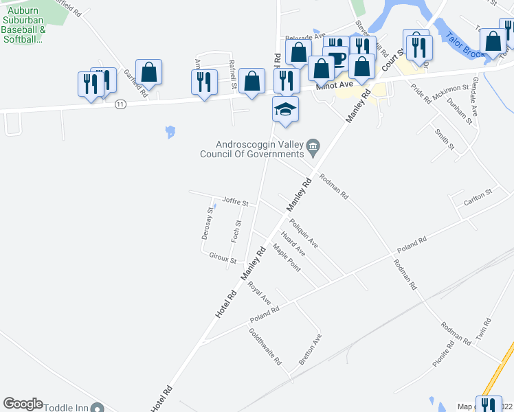 map of restaurants, bars, coffee shops, grocery stores, and more near Hotel Rd in Auburn