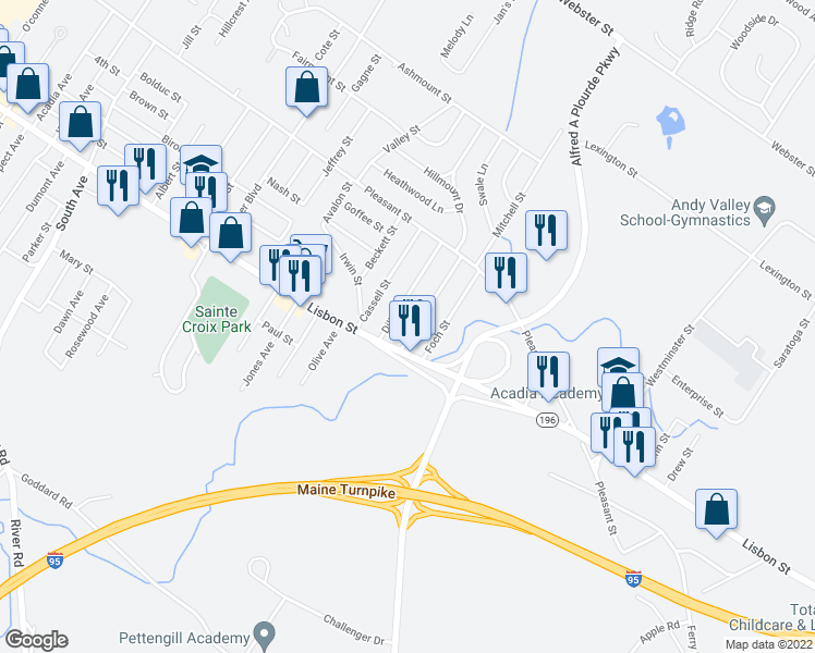 map of restaurants, bars, coffee shops, grocery stores, and more near 16 Eustis Street in Lewiston