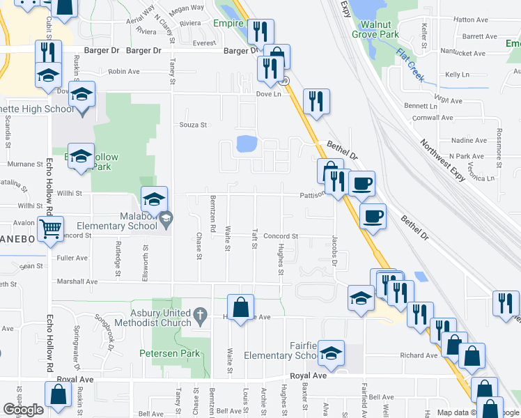 map of restaurants, bars, coffee shops, grocery stores, and more near 1390 Hughes Street in Eugene