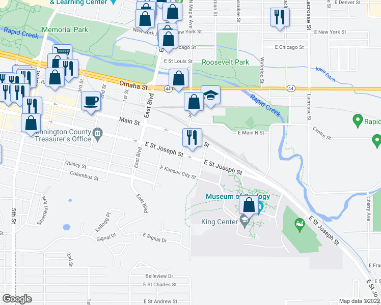map of restaurants, bars, coffee shops, grocery stores, and more near 208 East Saint Joseph Street in Rapid City