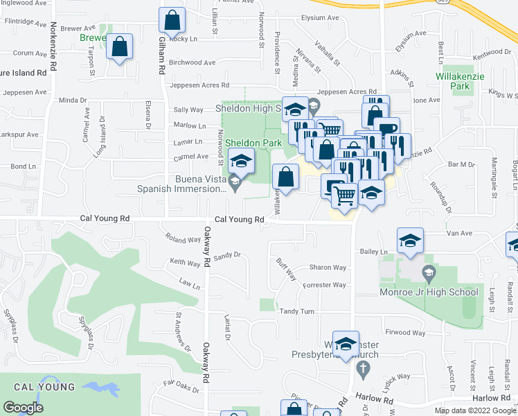 map of restaurants, bars, coffee shops, grocery stores, and more near 2390 Cal Young Road in Eugene