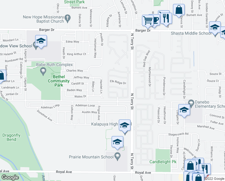 map of restaurants, bars, coffee shops, grocery stores, and more near 5327 Bridgewater Drive in Eugene