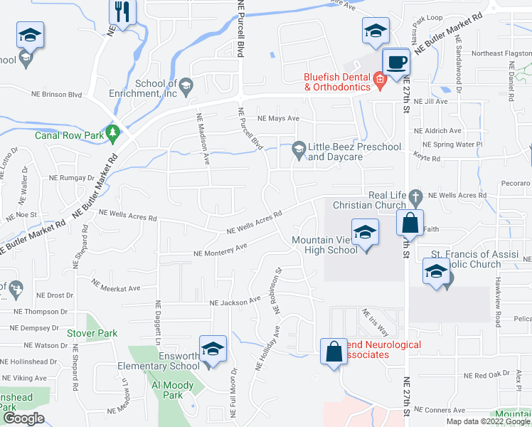 map of restaurants, bars, coffee shops, grocery stores, and more near 2905 Northeast Purcell Boulevard in Bend