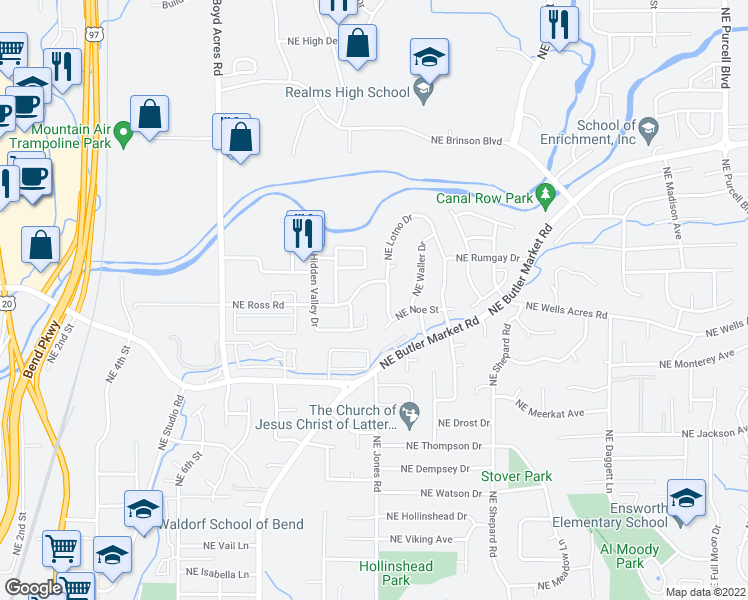 map of restaurants, bars, coffee shops, grocery stores, and more near 1133 Northeast Hidden Valley Drive in Bend