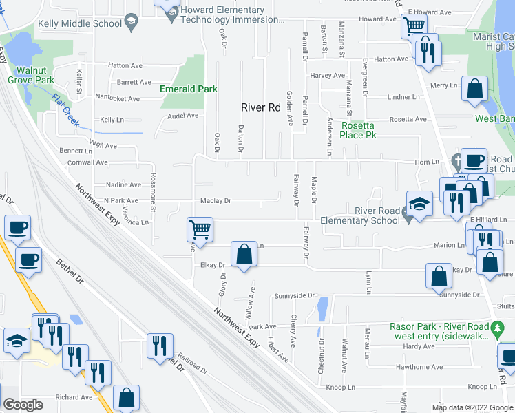 map of restaurants, bars, coffee shops, grocery stores, and more near 1080 Sunny Drive in Eugene