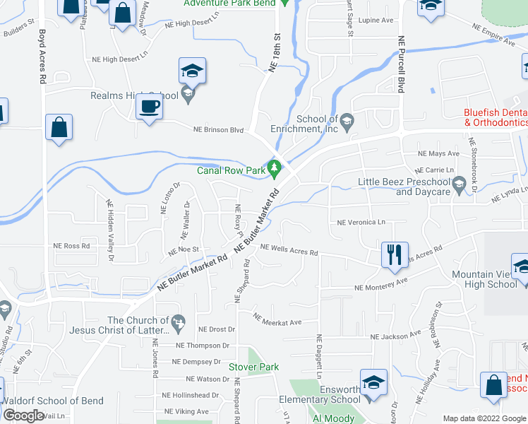 map of restaurants, bars, coffee shops, grocery stores, and more near 1482 Northeast Rumgay Drive in Bend