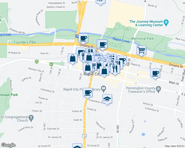 map of restaurants, bars, coffee shops, grocery stores, and more near  in Rapid City