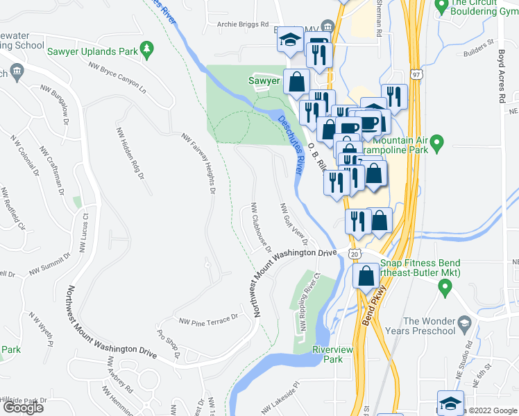 map of restaurants, bars, coffee shops, grocery stores, and more near 3094 Northwest Clubhouse Drive in Bend