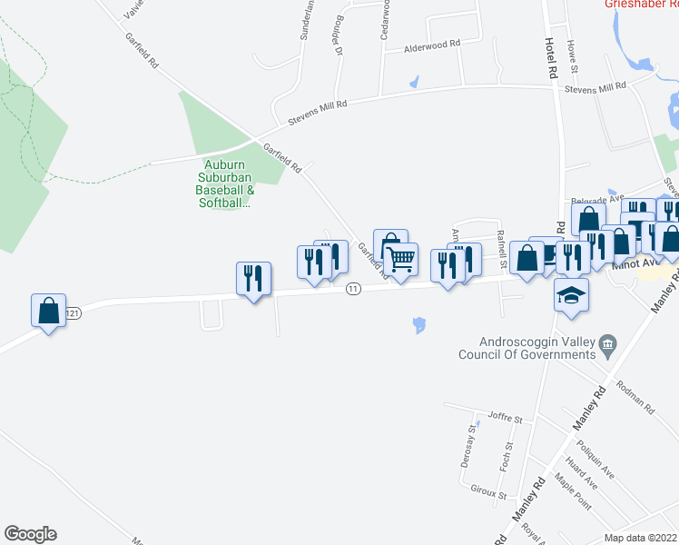 map of restaurants, bars, coffee shops, grocery stores, and more near 32 Sterling Road in Auburn