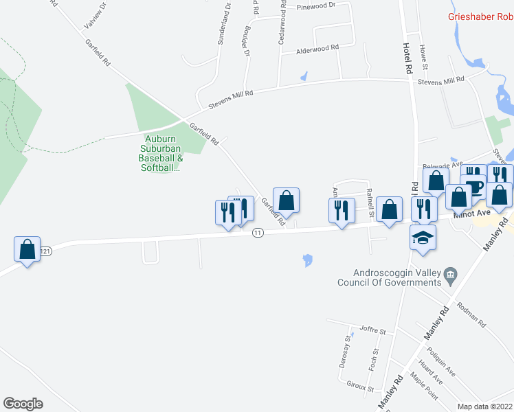 map of restaurants, bars, coffee shops, grocery stores, and more near 10 Sterling Rd in Auburn