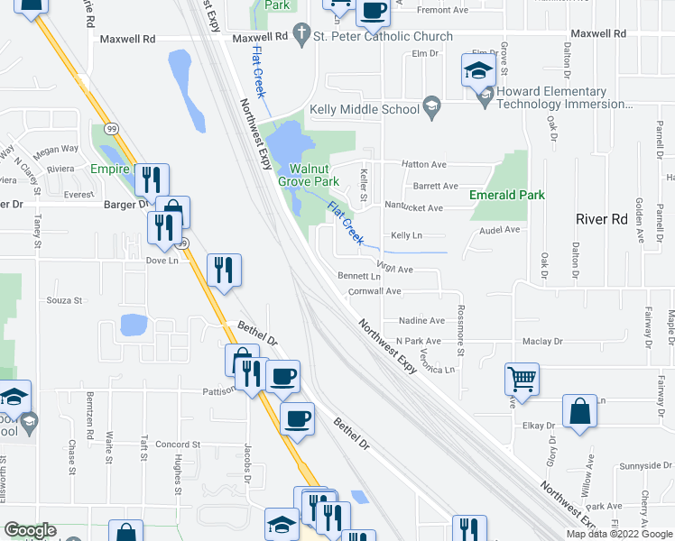 map of restaurants, bars, coffee shops, grocery stores, and more near 993 Bennett Lane in Eugene