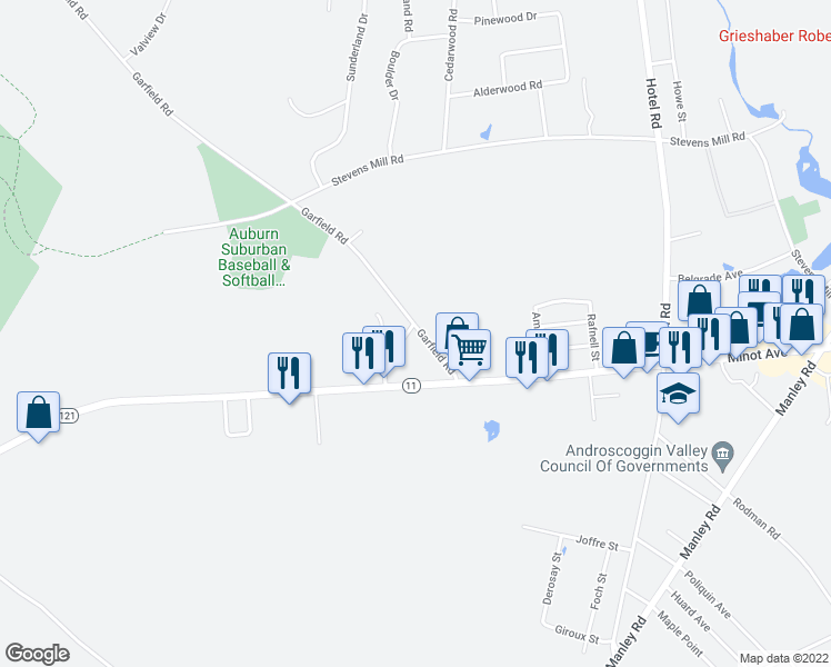 map of restaurants, bars, coffee shops, grocery stores, and more near 62 Garfield Road in Auburn